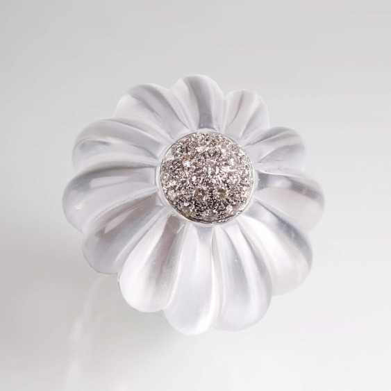 Modern flower cocktail ring with crystal and brilliant-trim - photo 2