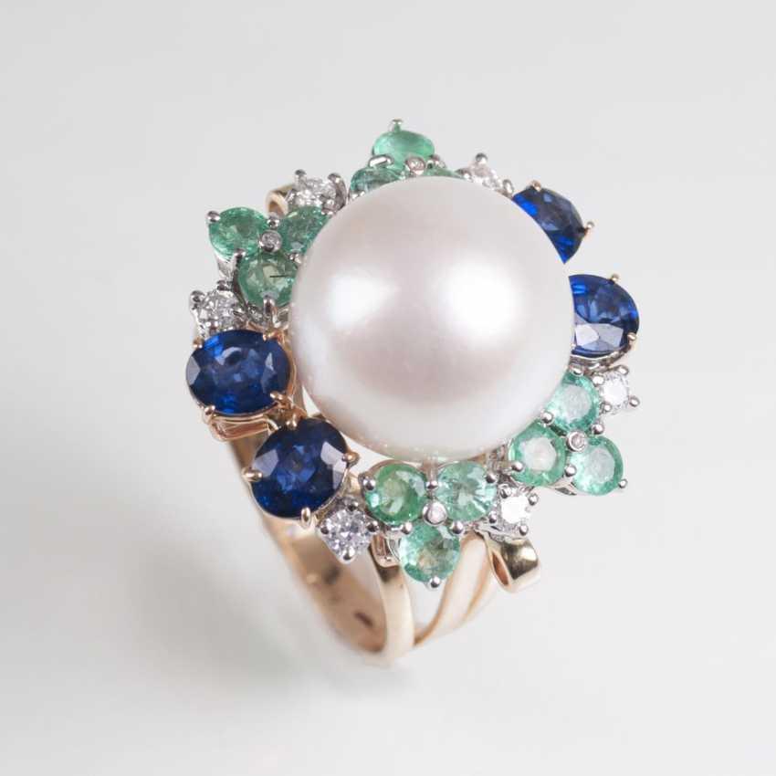 Classically-elegant pearl-emerald-sapphire-Ring - photo 1