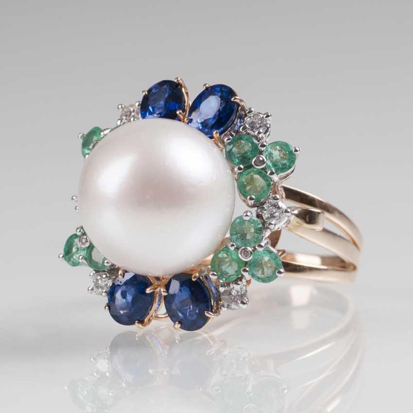 Classically-elegant pearl-emerald-sapphire-Ring - photo 2