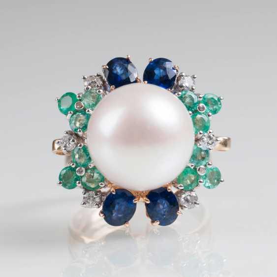 Classically-elegant pearl-emerald-sapphire-Ring - photo 3