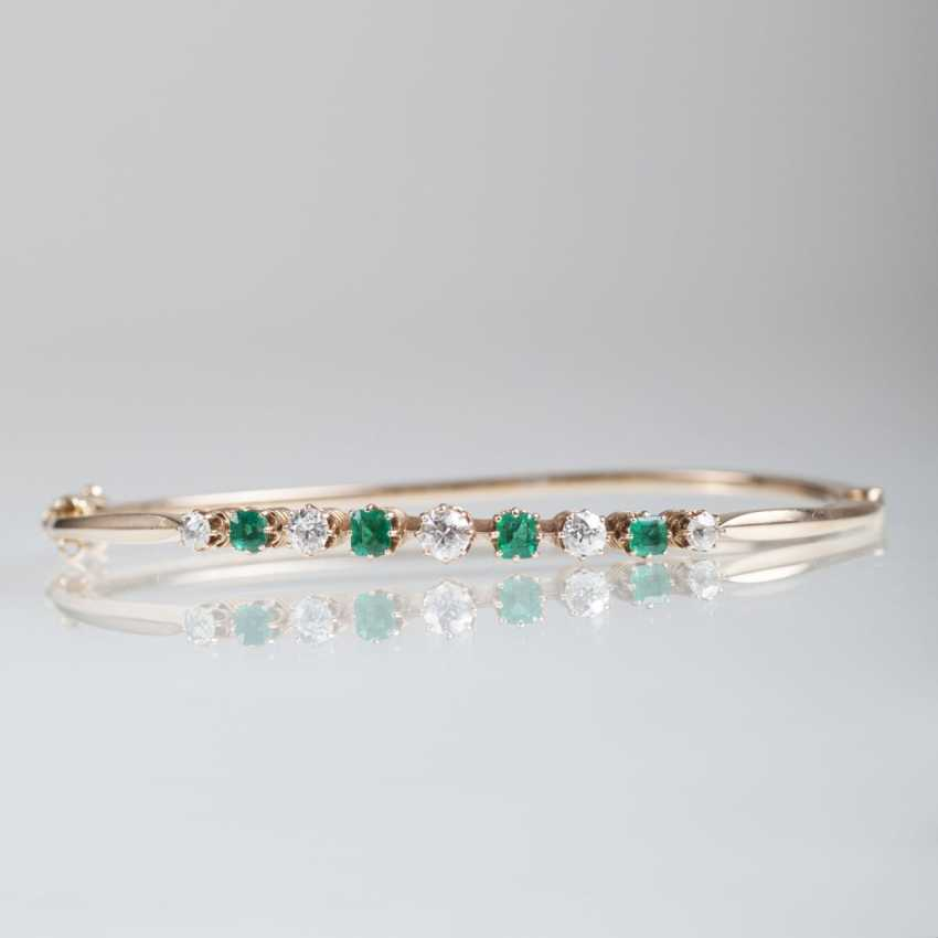 Vintage bangle bracelet with emeralds and old European cut diamonds - photo 1
