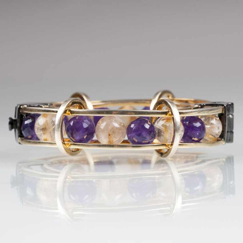 Extraordinary bangle bracelet with Amethyst and rutile-balls - photo 1