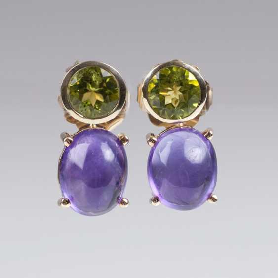 Pair Of Peridot-Amethyst-Earrings - photo 1