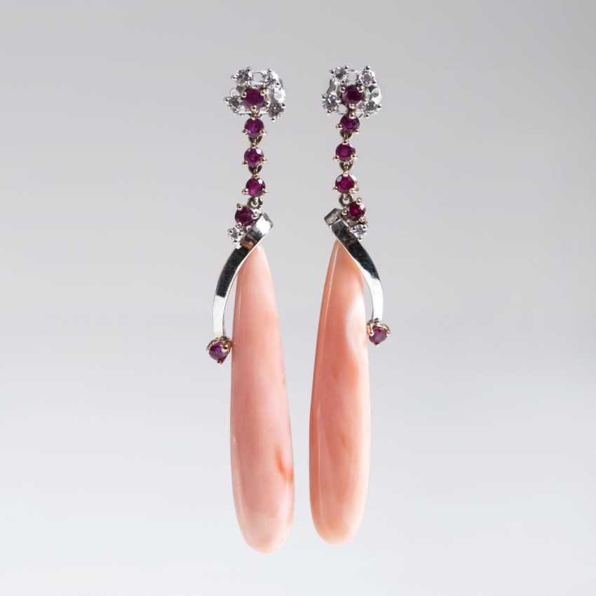 Pair of coral earrings with ruby and diamond stocking - photo 1