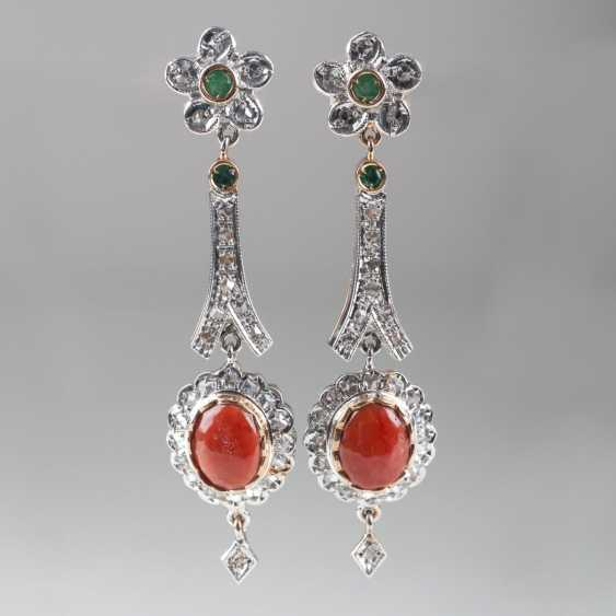 Pair of coral and diamond earrings with small emeralds - photo 1