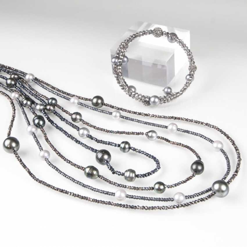 Four modern Tahiti-pearl-marcasite-chain - photo 1