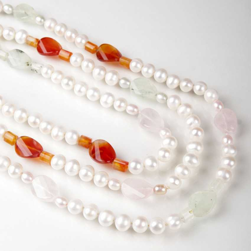 Necklace with pearls and multi-colored, quartz - and tourmaline-members - photo 1