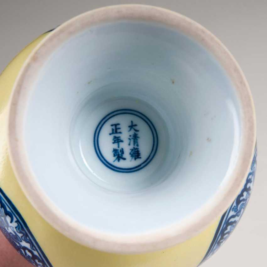 Porcelain narrow neck vase with a lemon-yellow background - photo 2