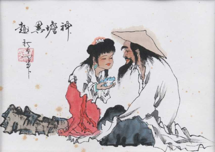 Chinese master 2. Half of the 20. Century. Old man and girl with frog - photo 1