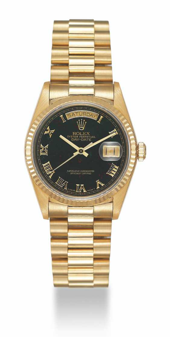 ROLEX, GOLD DAY-DATE WITH BLOODSTONE DIAL, REF. 18038 - photo 1