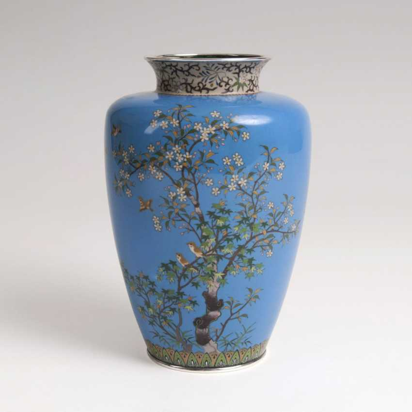 Cloisonne Vase with flowers and birds - photo 1