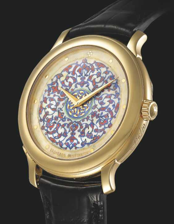 VACHERON CONSTANTIN, LIMITED EDITION GOLD WITH CHAMPLEVÉ ENAMEL DIAL BY M. SECHAUD, NO. 6/10 - photo 1