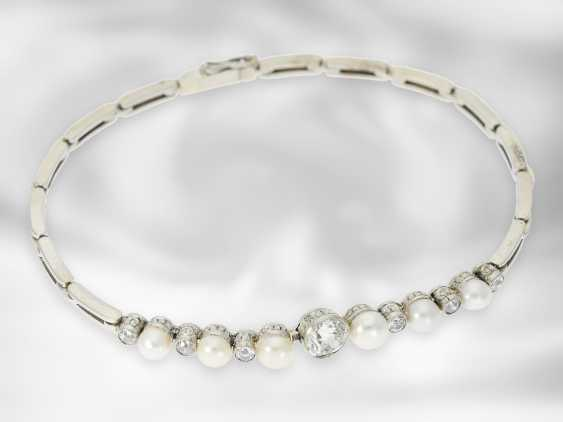 Bracelet: very nice antique bracelet with pearls and diamonds, approx. 1.1 ct - photo 2