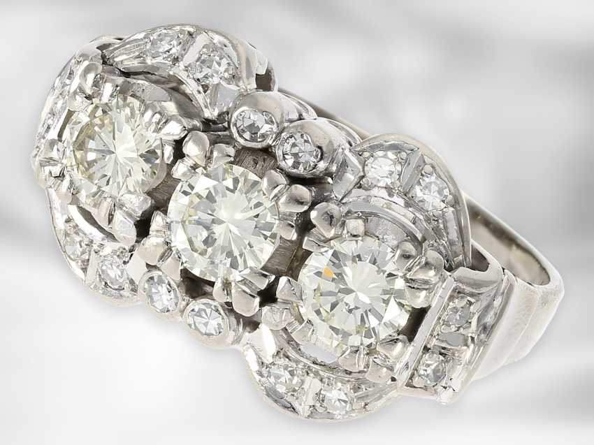 Ring: opulent vintage diamond ring, approx. 1.41ct in total, 14K white gold - photo 1