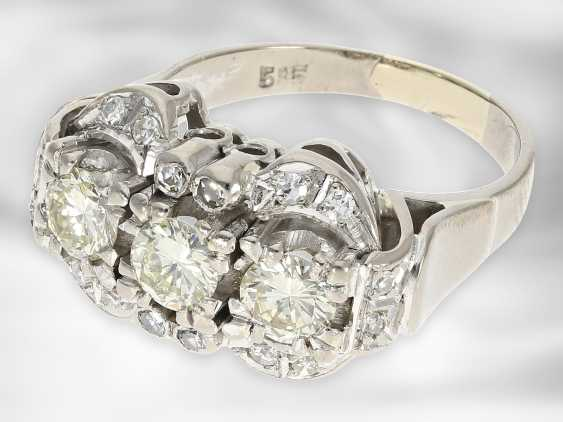 Ring: opulent vintage diamond ring, approx. 1.41ct in total, 14K white gold - photo 2