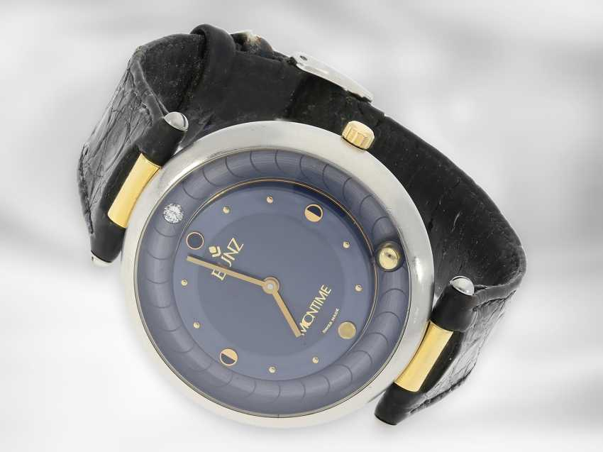 "Wrist watch: unusual and rare men's designer watch, Bunz ""Moontime"" Ref. 27014332, steel / gold - photo 1"