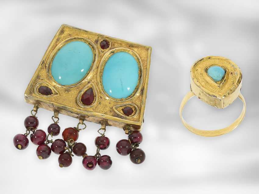 Earrings / necklace / ring: antique Indian jewelry set consisting of earrings, ring and necklace, with turquoise and garnet, foam gold and gold, 19th century - photo 3