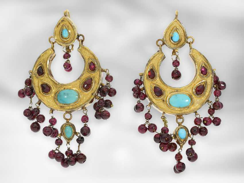 Earrings / necklace / ring: antique Indian jewelry set consisting of earrings, ring and necklace, with turquoise and garnet, foam gold and gold, 19th century - photo 4