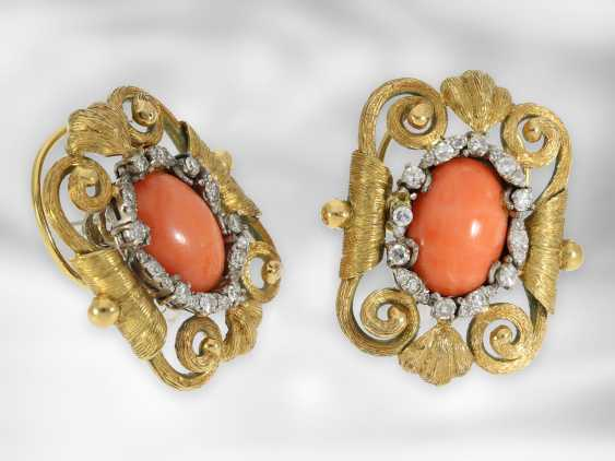 Ring / earrings: very decorative, opulently decorated antique jewelry set with angel skin coral and diamonds, a total of approx - photo 6