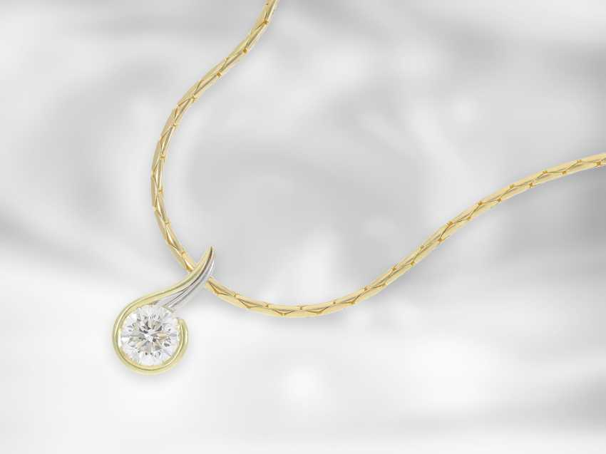 Chain / necklace: necklace chain with exclusive, extremely high-quality and formerly expensive solitaire / diamond pendant, high-quality diamond, 1.685 ct - photo 1