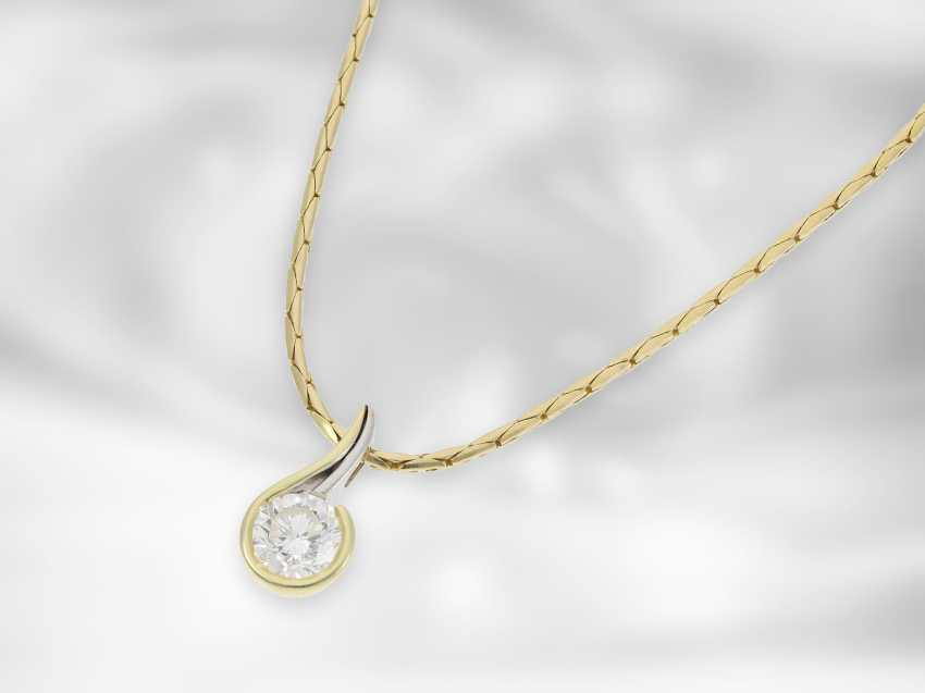 Chain / necklace: necklace chain with exclusive, extremely high-quality and formerly expensive solitaire / diamond pendant, high-quality diamond, 1.685 ct - photo 2