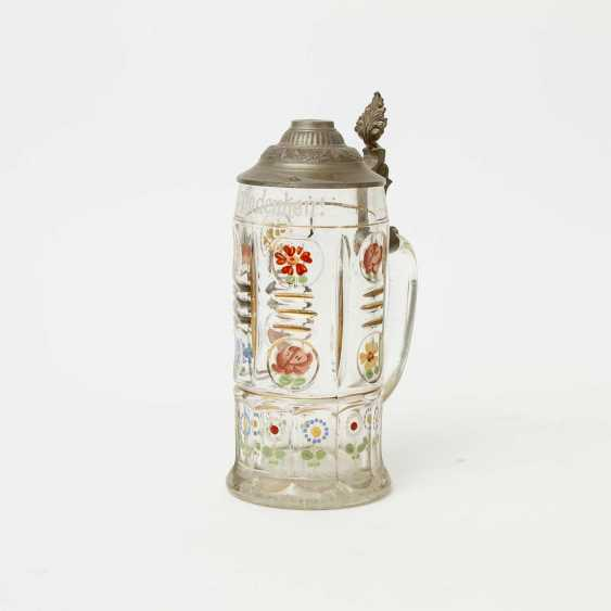 Floral-painted souvenir pitcher made of glass, polychrome equipped, for 1l of beer, - photo 1