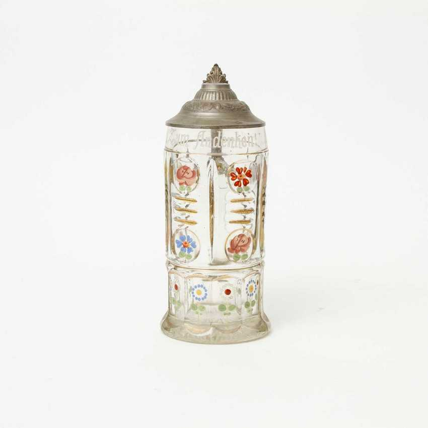 Floral-painted souvenir pitcher made of glass, polychrome equipped, for 1l of beer, - photo 2