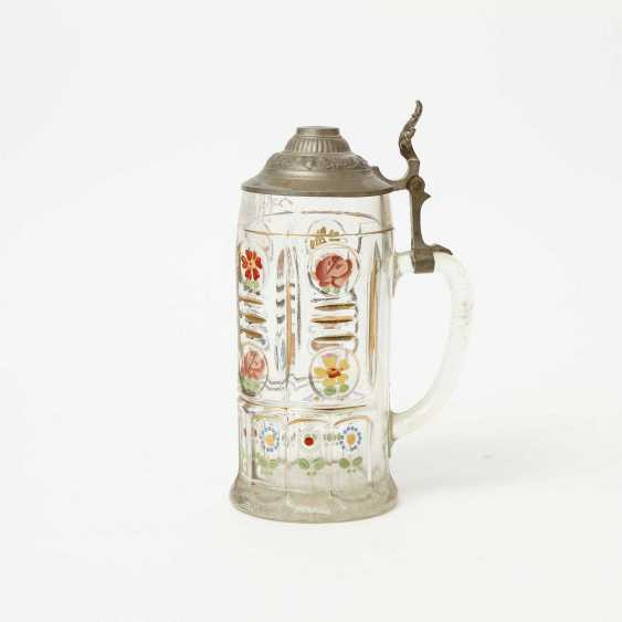 Floral-painted souvenir pitcher made of glass, polychrome equipped, for 1l of beer, - photo 3