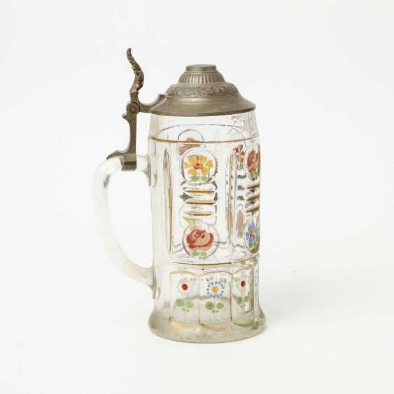 Floral-painted souvenir pitcher made of glass, polychrome equipped, for 1l of beer, - photo 5