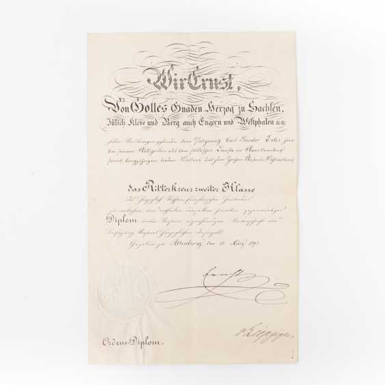 Saxe-Altenburg - order-diploma of the knight's cross 2. Class of the - photo 1
