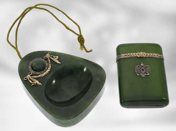 Table bell / case: extremely rare and important Art Nouveau set, table bell and matchstick case made of nephrite, gold and silver, probably FABERGÉ Henrik Wigström, around 1900, signed with original box - photo 1