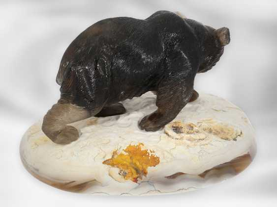 Figure / stone carving: Bear sculpture made of smoky quartz on an agate plate, probably from the Eberhard Bank master studio - photo 3