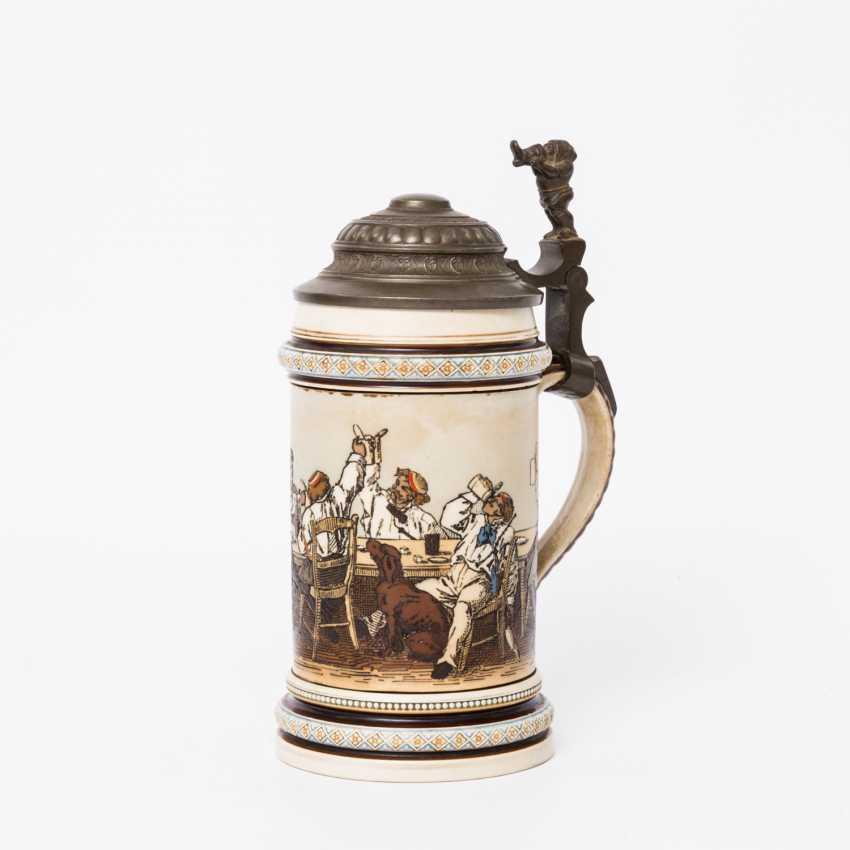 Beer mug, Studentika, 1890 - beer mug for 0.5 l of beer Villeroy & Boch Mettlach with hinged tin lid, - photo 1