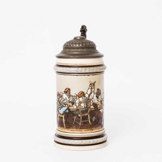 Beer mug, Studentika, 1890 - beer mug for 0.5 l of beer Villeroy & Boch Mettlach with hinged tin lid, - photo 2