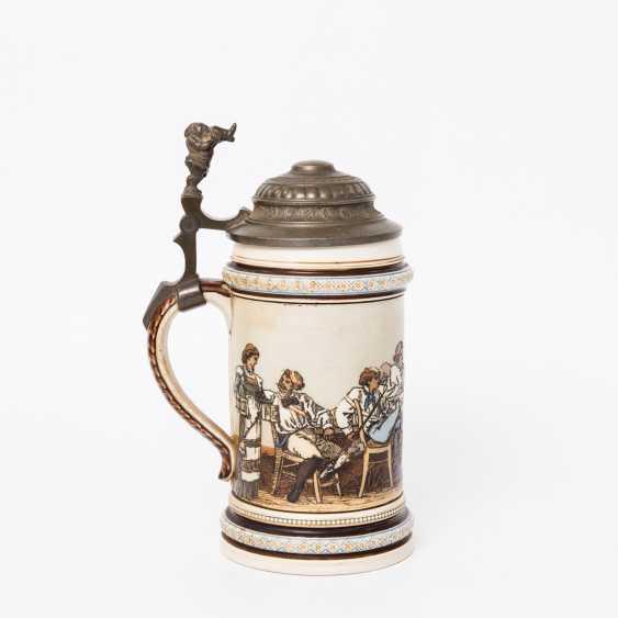 Beer mug, Studentika, 1890 - beer mug for 0.5 l of beer Villeroy & Boch Mettlach with hinged tin lid, - photo 3