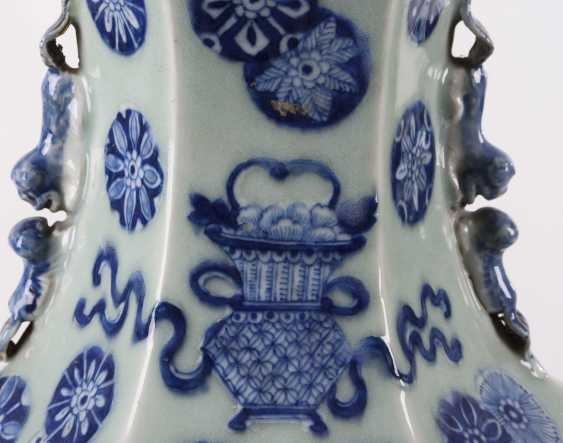 Large six-pass porcelain vase on a wooden base - photo 3