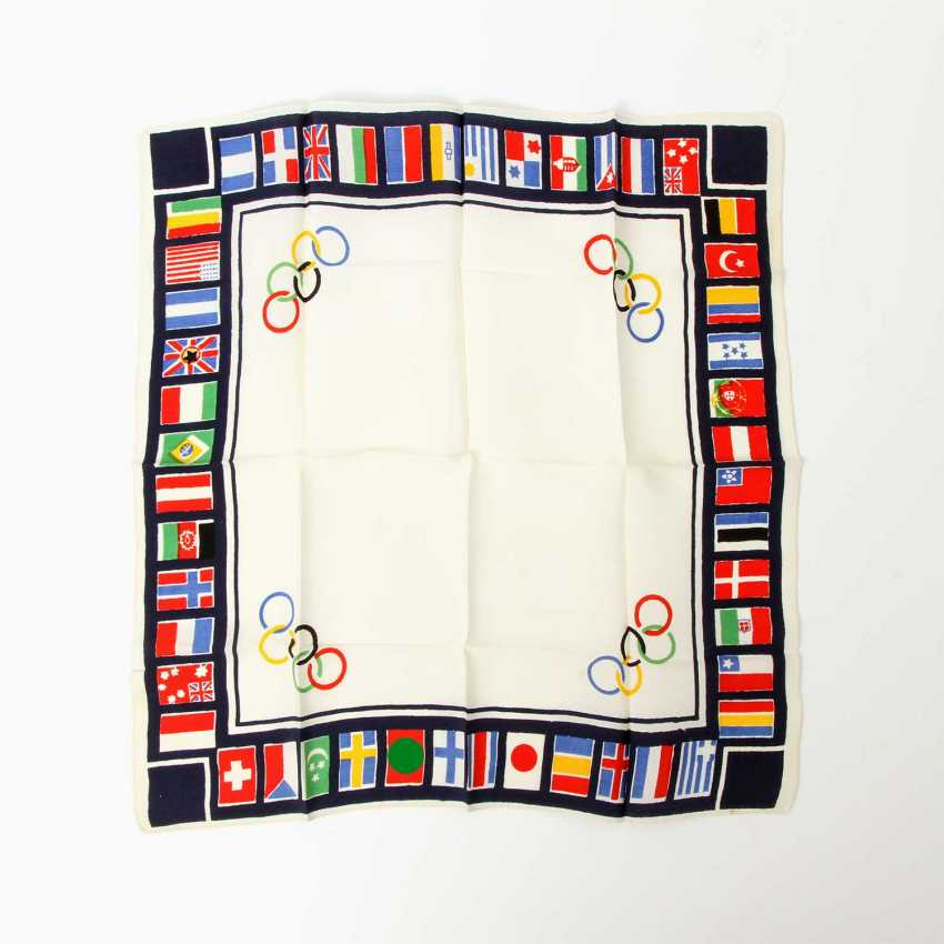 """Memory cloth """"1936 Olympic games in Berlin, the"""" - hist. Souvenir cloth, printed with the Olympic rings - photo 1"""