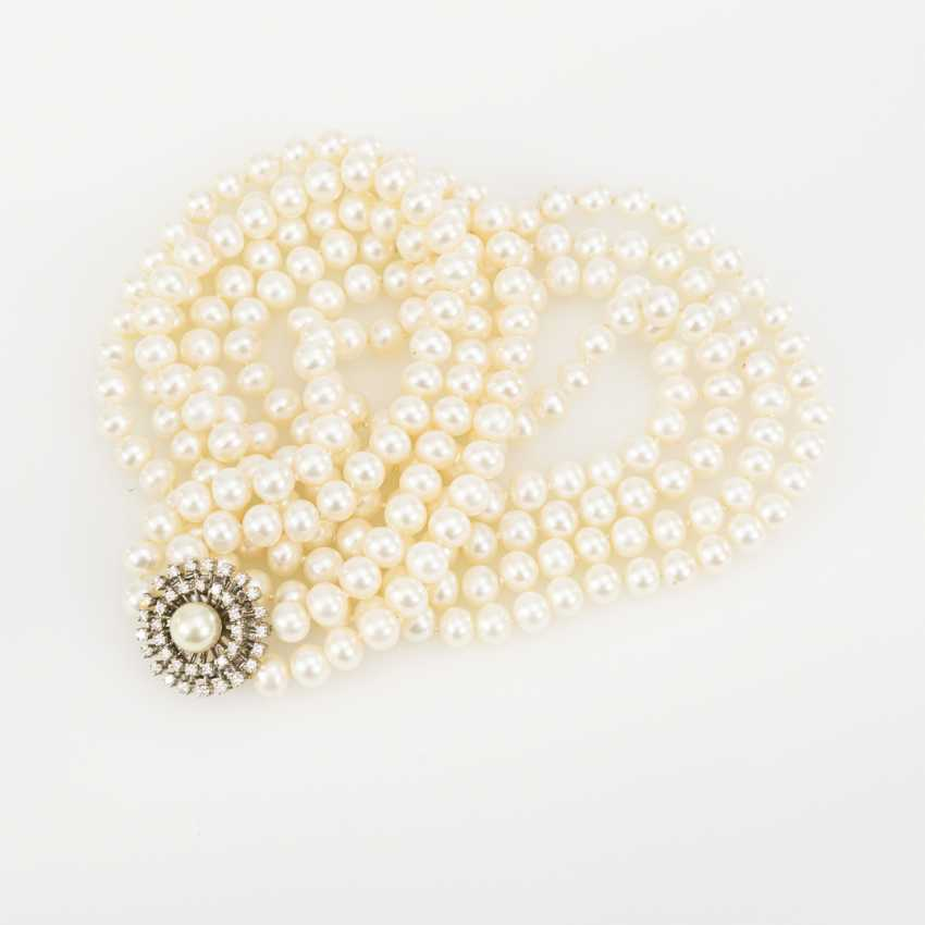 Long, 2-row cultured pearl necklace with a brilliant-cut diamond clasp - photo 2