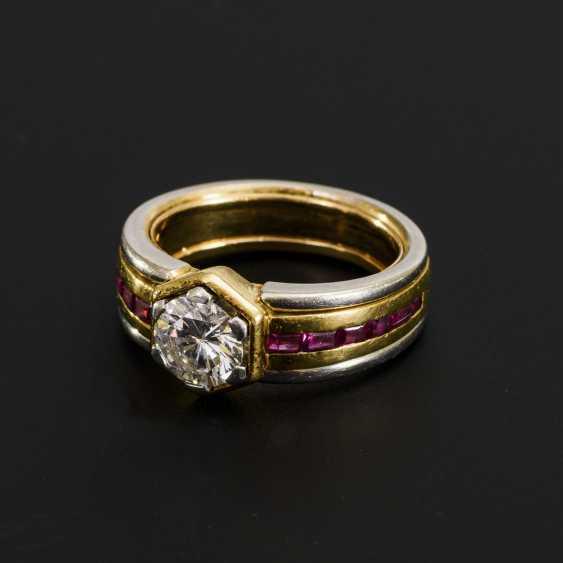 High quality diamond ring with rubies - photo 1