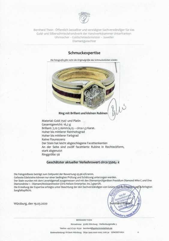 High quality diamond ring with rubies - photo 2