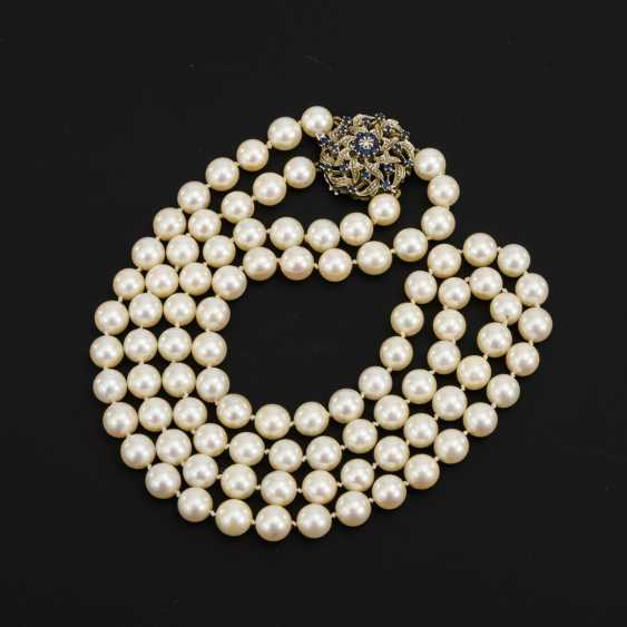 2-row cultured pearl necklace with decorative clasp - photo 1