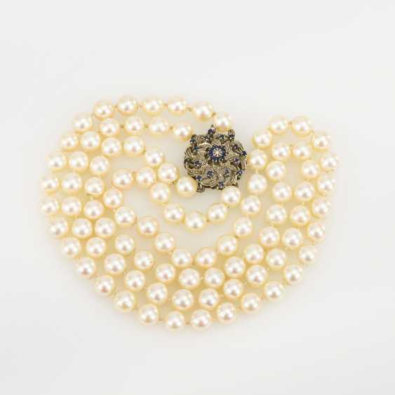 2-row cultured pearl necklace with decorative clasp - photo 2
