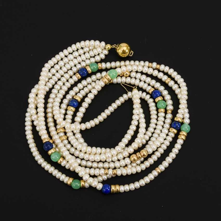 4-row cultured pearl necklace with lapis lazuli and chrysoprase? - photo 1