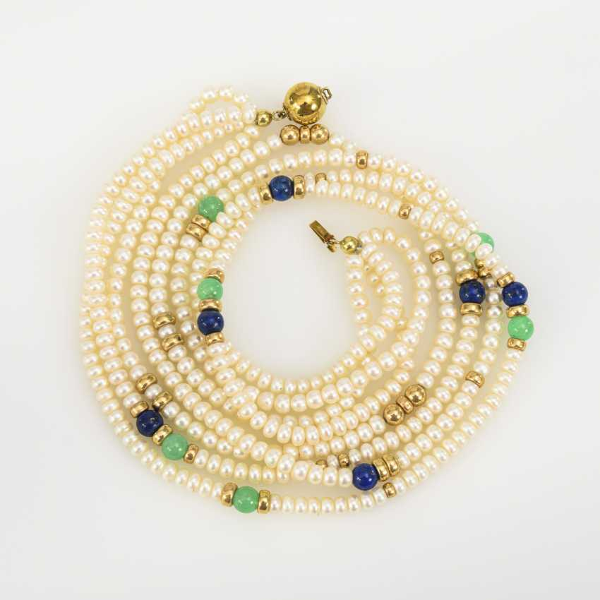 4-row cultured pearl necklace with lapis lazuli and chrysoprase? - photo 2