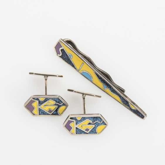 Finnish designer tie clip and pair of cufflinks - photo 1