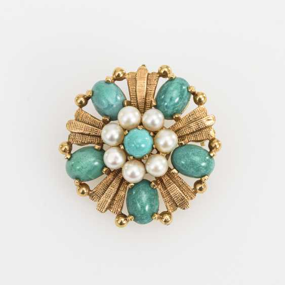 Brooch / pendant with cultured pearls and green stones - photo 1