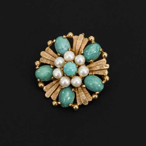 Brooch / pendant with cultured pearls and green stones - photo 2