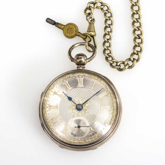 Silver English pocket watch with watch chain - photo 1
