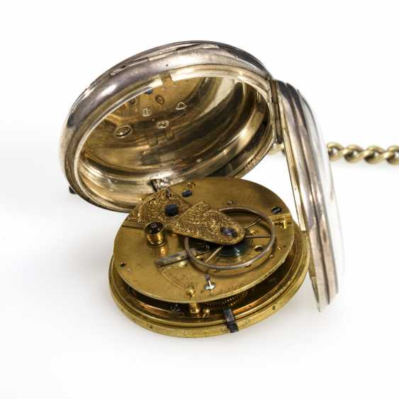 Silver English pocket watch with watch chain - photo 2