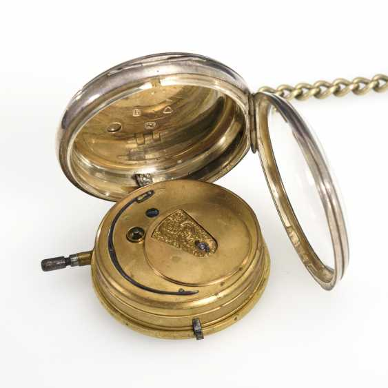 Silver English pocket watch with watch chain - photo 3